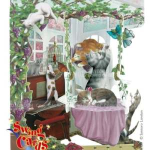 Cats in Conservatory - 3D Pop-Up Swing Card