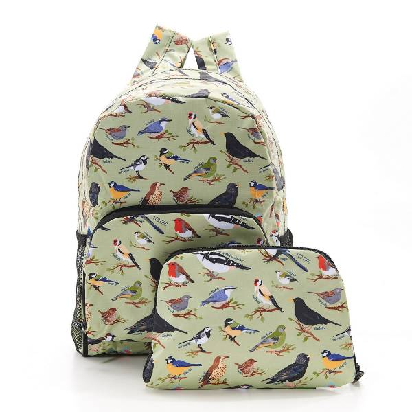 Green Wild Birds Foldable Backpack