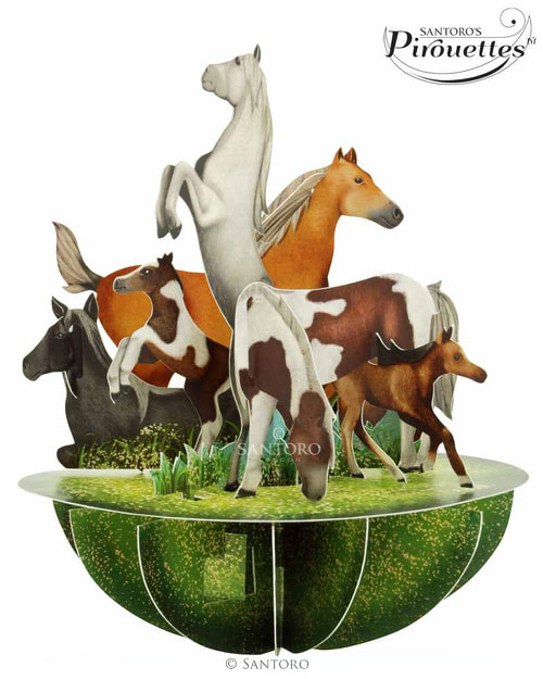 Santoro London – Horse and Ponies – 3D Pop-up Pirouette Card