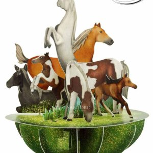 Santoro London - Horse and Ponies - 3D Pop-up Pirouette Card