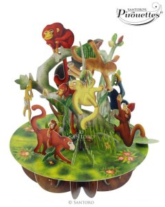 Santoro London - Monkeys - 3D Pop-up Pirouette Card