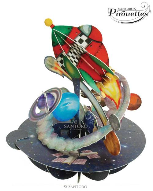 Santoro London – Out In Space – 3D Pop-up Pirouette Card