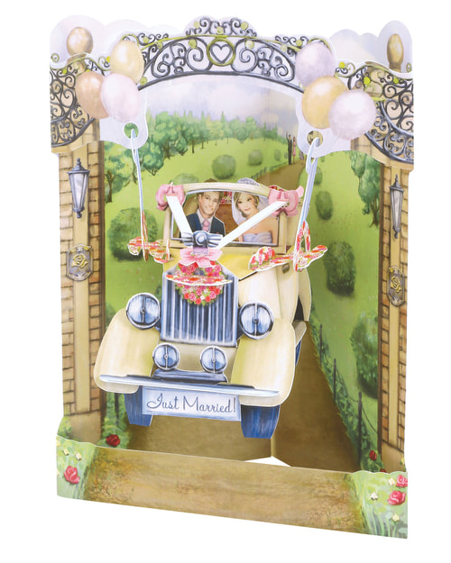 Santoro Wedding Car – 3D Pop-Up Swing Card