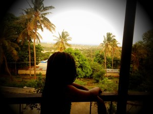Looking out over the balcony, Dar es Salaam, Tanzania.
