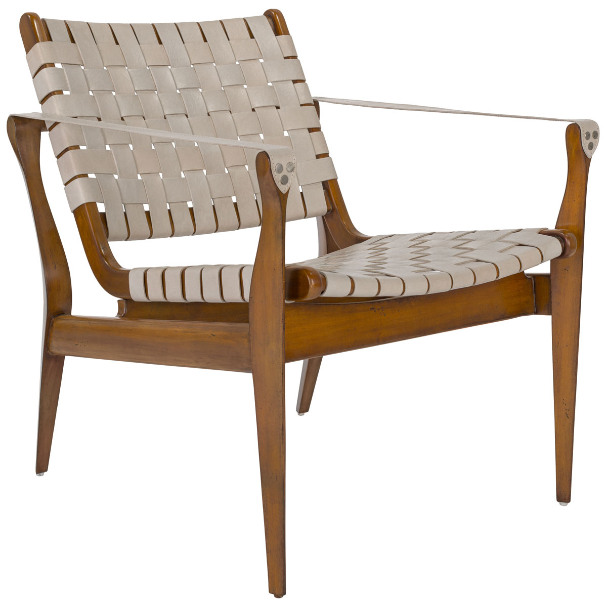Safari Chair Woven Leather Safari Chair White Eclectic Goods
