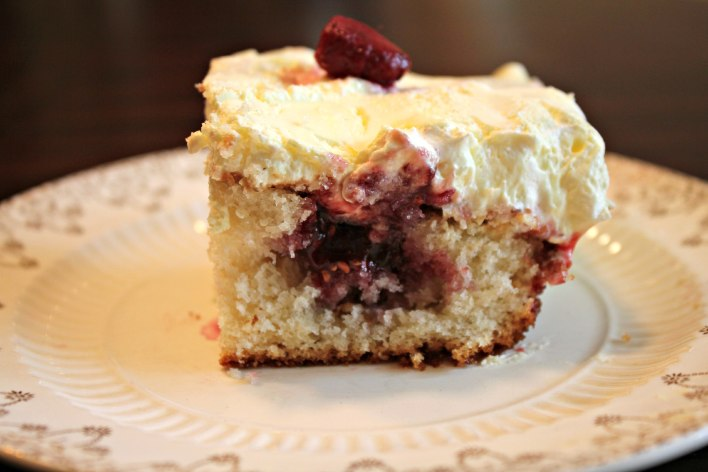 Lemon Raspberry Poke Cake