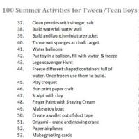 100 Summer Activities for Tween and Teen Boys