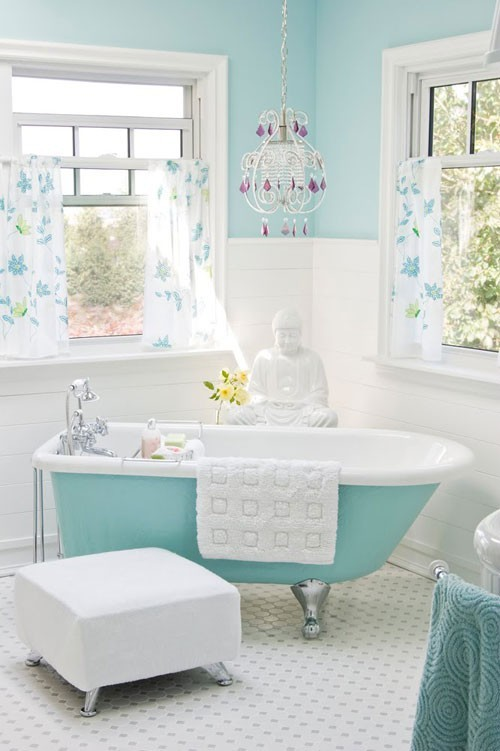 lightaquabluewhitebathroom  ECLECTIC LIVING HOME