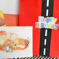 Race Track Gift Bag + Cars Watercolor Print