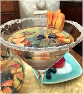 Peach & blueberry sangria cocktail