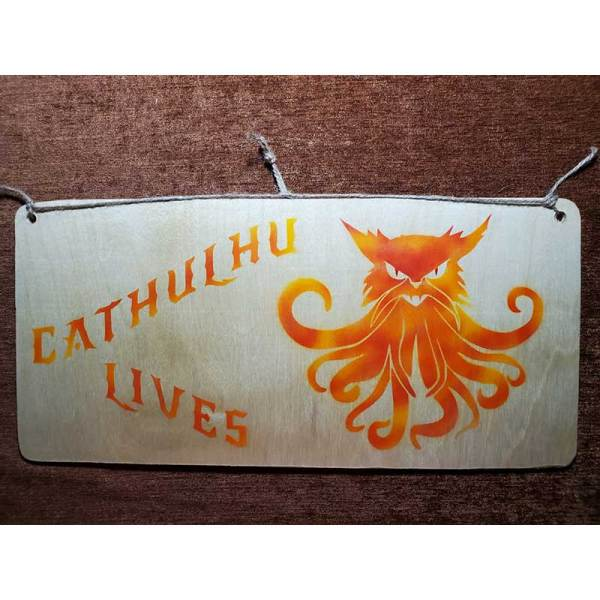 """""""Cathulhu Lives"""" sign by Eclectics Marketplace."""