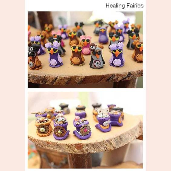 Polymer Clay Steampunk owls and tophats by Healing Fairies