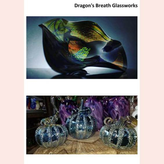 Fanciful bowls and ornate pumpkins by Dragon's Breath Glassworks