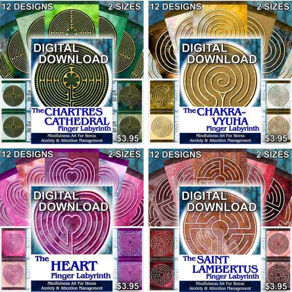Digital versions of labyrinths and mindful art by Celtic Art Store