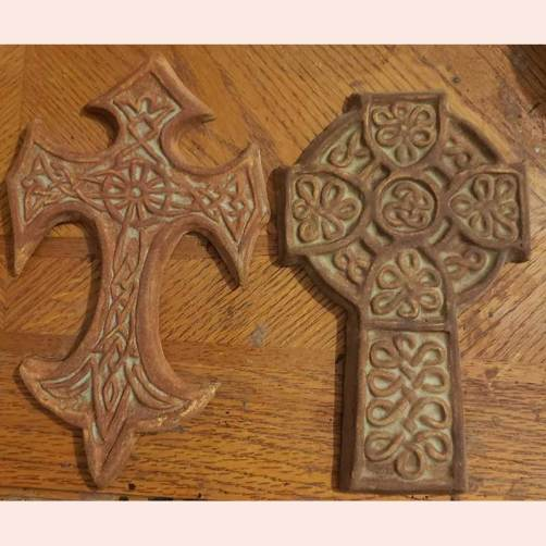 Ornate ceramic cross sculptures by Celtic Clay Creations