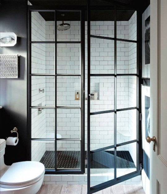 micro trend- black metal framed windows shower