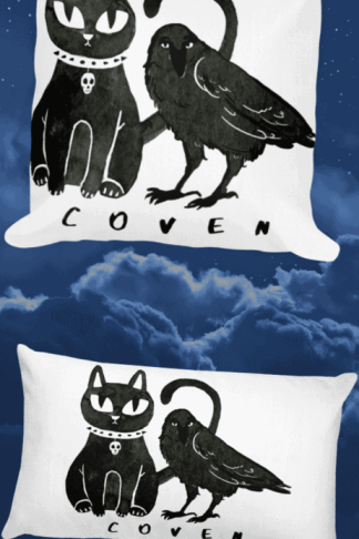 Gothic Cat and Crow Coven eco friendly pillows for gothic girls and witchy people. This cute but creepy design will definitely catch some eyes. Show off your dark style with this pagan art. Witch fashion, pagan fashion, gothic fashion, goth fashion, wicca fashion, occult shirt, witch shirt, pagan shirt, gothic shirt, goth shirt, wicca shirt, witch home decor. #witch #witchcraft #gothic #cat #crow #raven