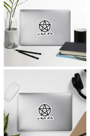 These So Mote It Be pentacle stickers are great for a witch's laptop! Sticker bomb your city with this protective symbol and witch quote. #witch #witchcraft #wicca #pentagram #sticker