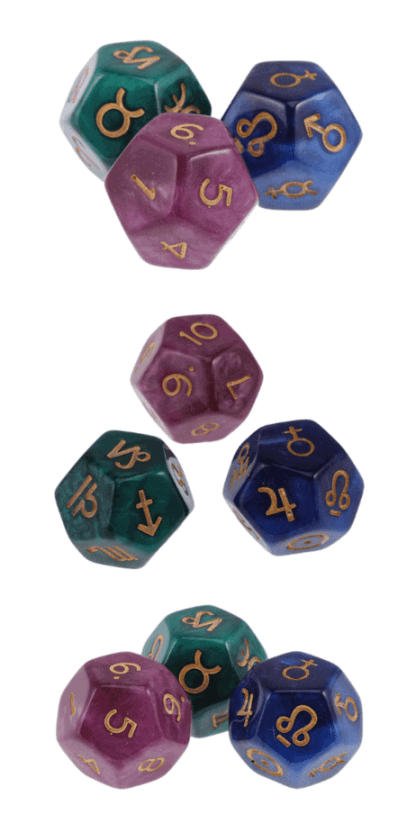 Astrology divination dice: Divine the future easily with this set of three dice. These three dice create a complete divination set. With a simple throw of these dice, you can divine the future and reveal your true emotions about any situation. This is the perfect gift for witches and people that are into astrology and the occult. When you buy this set of divination dice, you will get 3 gorgeous 12 sided pieces in lovely pearly colors. #astrology #divination #witch #witchcraft #occult #pagan