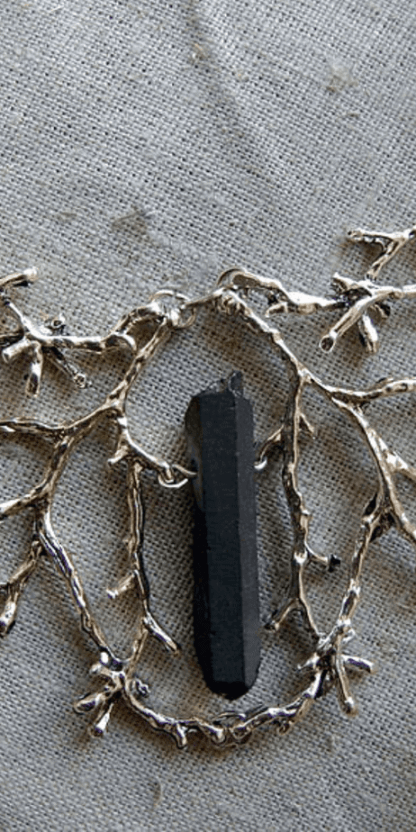 Wild Wood Branch Necklace With Black Crystal #pagan #witchcraft #witch #wicca #fashion #jewelry