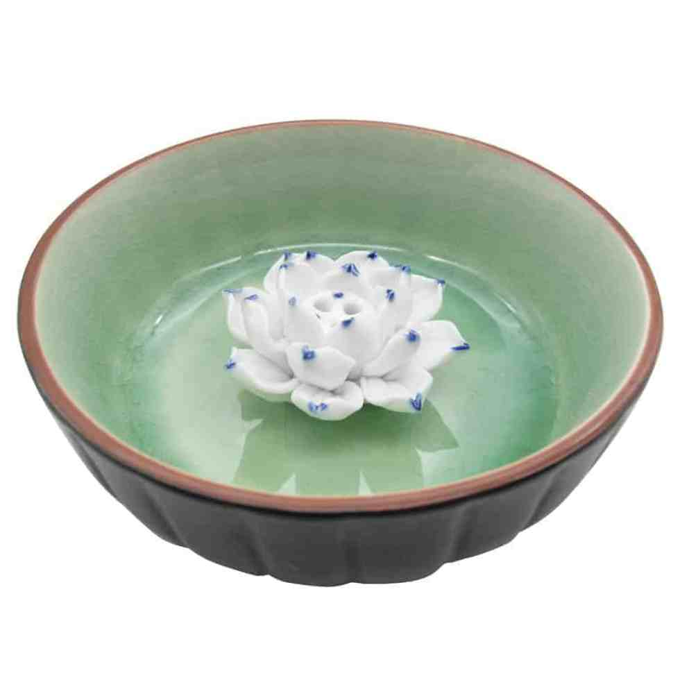 TrendBox Ceramic Handmade Artistic Veins Incense Holder Burner Stick Coil Lotus Ash Catcher Buddhist Water Lily Plate - Emerald