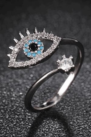 Silver evil eye ring set with gemstones