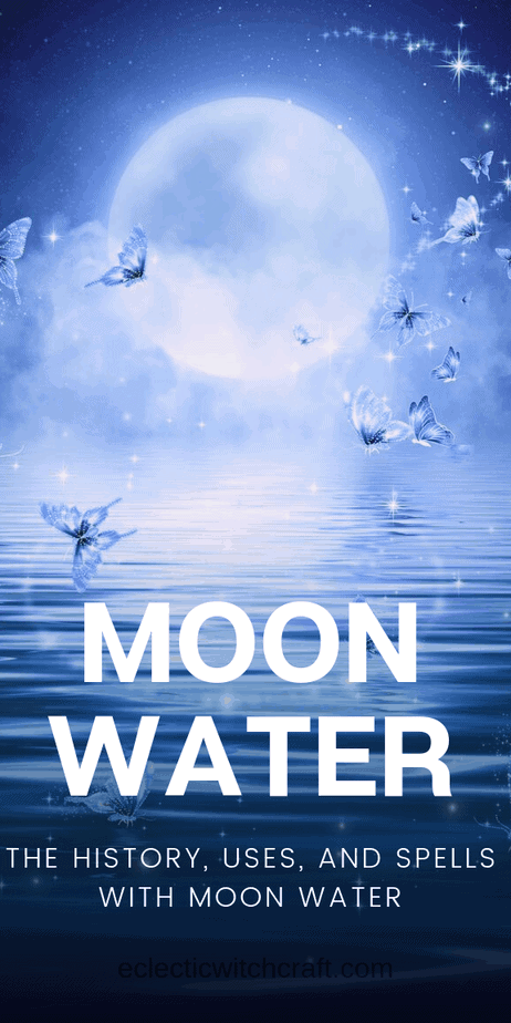 This is the definitive guide to moon water magic and the history of moon water in witchcraft and love spells. Moon water is a great magical cleanser and helps to develop intuition and psychic abilities. Charge your water in a full moon spell. Beauty spells and love spells can benefit from moon water, too. Perfect for lunar witches. #witchcraft #pagan #paganism #wicca #moon #moonmagic #magick #witch