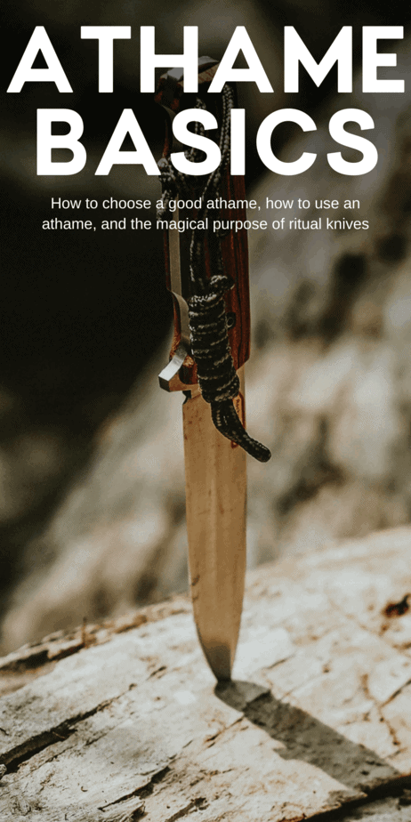 How to choose a good athame for witchcraft. All about ritual knives, athames, ritual daggers, and bolines. One possible etymological link comes from the Latin word artavus. While not directly related to witchcraft or magic, an artavus was a specific kind of knife: A small penknife that was used to sharpen pens for scribes. #athame #witchcraft #witch #knife #knives #boline #pagan #wicca #paganism #wiccan #magick