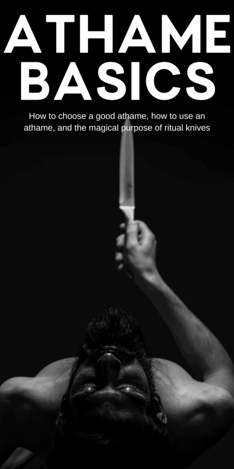 The symbolism and meaning of athames in witchcraft. All about ritual knives, athames, ritual daggers, and bolines. It is energetically projective, meaning it directs and projects energy. Its colors are red and yellow. Its directions are South and East. In ritual and magic work, athames are used to direct energy and draw boundaries. #athame #witchcraft #witch #knife #knives #boline #pagan #wicca #paganism #wiccan #magick
