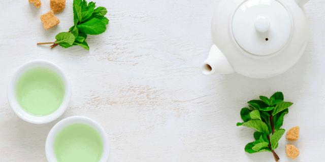 Mint green tea in cups