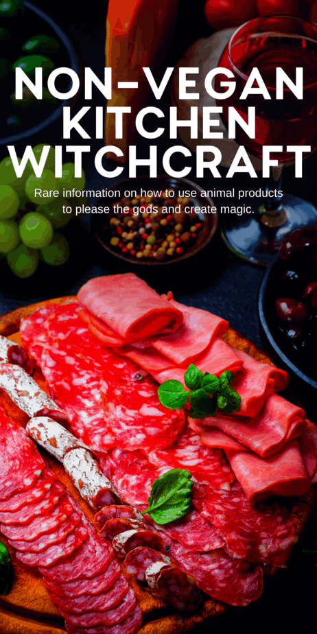 Kitchen witchcraft using meat and animal products like honey and fish. The most obvious (and ethical) way to use this information is in non-vegan kitchen magic. When you're making a steak for a loved one, consider the magical correspondences of beef. If you're working on fertility magic to conceive a child, consider adding some caviar to a romantic dinner. #kitchenwitch #witch #witchcraft #magic #pagan #meat