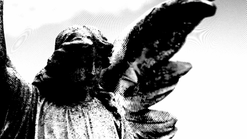 Decorative image of a funerary angel statue