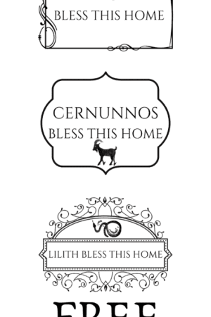 Free pagan printables to celebrate your deity! Lilith bless this home. Cernunnos bless this home. Aphrodite bless this home. Witch printables for free. Download these free Wiccan printables. #printables #free #freedownload #witchcraft #witch #pagan #wicca #occult #aphrodite #cernunnos #lilith