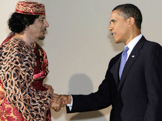 Gaddafi, the Jewish leader of Libya meets, President Hussein Obama, the Muslim rais of America