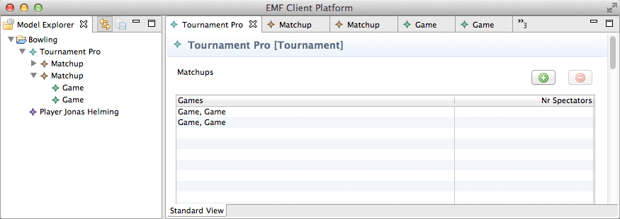 A sample application as generated by the EMF Client Platform