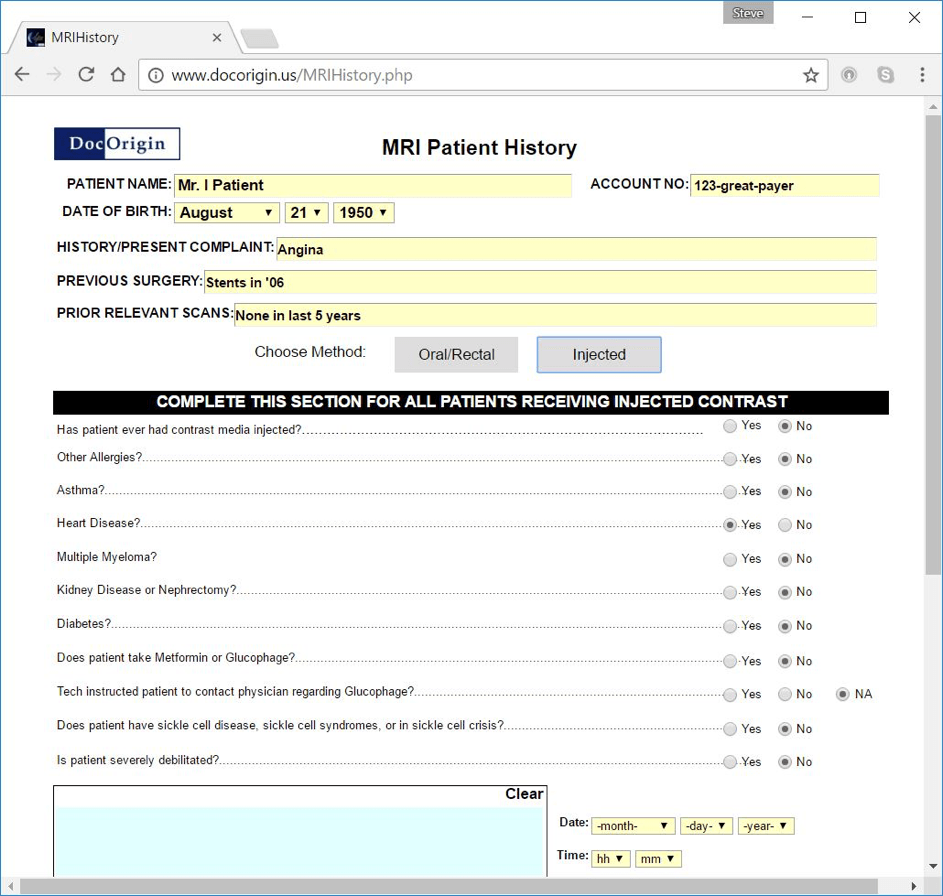 Screen shot showing questions relevant to certain medical procedure