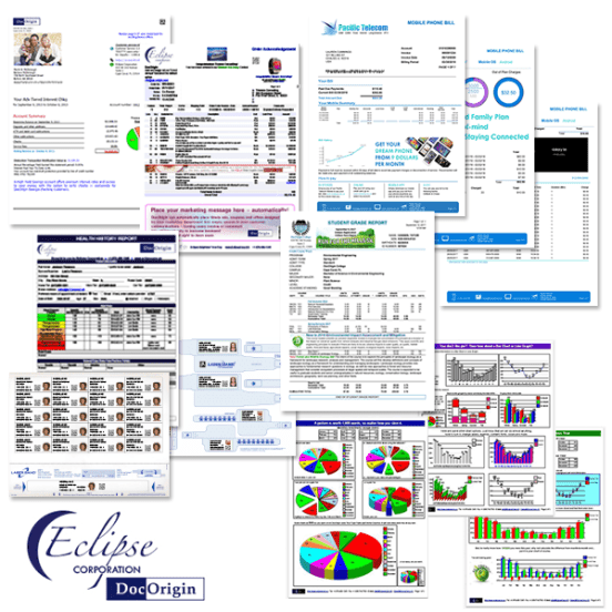 A collage of forms that are generated using DocOrigin software b y Eclipse Corp.