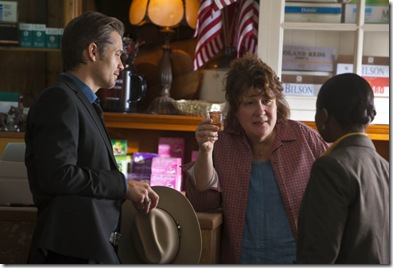 JUSTIFIED: L-R: Timothy Olyphant. Margo Martindale and Erica Tazel in the season premiere of JUSTIFIED airing Wednesday, Feb. 9 (10:00PM ET/PT) on FX. CR: Prashant Gupta / FX