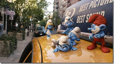 Smurfette, Gutsy, Clumsy, Brainy and Papa Smurfs in Columbia PIctures' THE SMURFS.