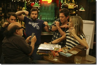 IT'S ALWAYS SUNNY IN PHILADELPHIA: Clockwise from Left: Charlie Day, Rob McElhenney, Glenn Howerton, Kaitlin Olson and Danny DeVito in the IT'S ALWAYS SUNNY IN PHILADELPHIA episode Chardee Macdennis airs Thursday, Oct. 27 at 10pm e/p. . CR: Patrick McElhenney / FX