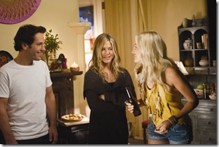 "(L to R) George (PAUL RUDD) and Linda (JENNIFER ANISTON) chat with Eva (MALIN AKERMAN) in ""Wanderlust"", the raucous new comedy from director David Wain and producer Judd Apatow about a harried couple who leave the pressures of the big city and join a freewheeling community where the only rule is to be yourself."