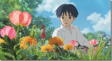 """THE SECRET WORLD OF ARRIETTY""   Human boy Shawn (right, voice of David Henrie) is astonished when he visits the garden and discovers Arrietty (voice of Bridgit Mendler) a tiny person who lives hidden with her family under the floorboards of the house where he's staying, in Disney's release of the Studio Ghibli animated feature, ""The Secret World of Arrietty."" (Opening in theaters Feb. 17, 2012)  © 2010 GNDHDDTW. All Rights Reserved."
