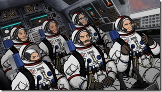 ARCHER, Episode 9:  Space Race, Part I (airing Thursday, March 15).  Sterling Archer and his colleagues at ISIS voyage to the final frontier in an effort to prevent a catastrophe on the International Space Station.  L-R, front row: Malory Archer (voice of Jessica Walter), Commander Anthony Drake (voice of guest star Bryan Cranston) and Agent Sterling Archer (voice of H. Jon Benjamin).  L-R, back row:  Agent Ray Gillette (voice of Adam Reed), Agent Lana Kane (voice of Aisha Tyler) and Cyril Figgis (voice of Chris Parnell).
