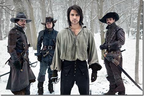 **Embargoed for publication until 06:00 HRS EST, 26 April 2013** Picture shows: Aramis (SANTIAGO CABRERA), Athos (TOM BURKE), D'Artagnan (LUKE PASQUALINO), Porthos (HOWARD CHARLES)