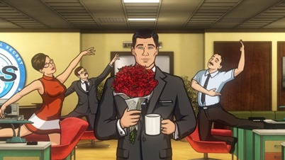 """ARCHER: Episode 1, Season 5 """"White Elephant"""" (airing Monday, January 13, 10:00 pm e/p). Someone dies.  Someone who has been with the ISIS crew from the beginning.  And then things get crazy. Written by Adam Reed. Pictured: (center) Sterling Archer (voice of H. Jon Benjamin). FX Network"""