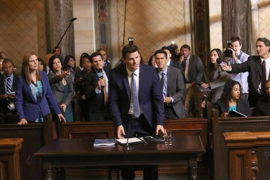 "BONES:  Booth (David Boreanaz, C) is questioned by a Senate subcommittee while Brennan (Emily Deschanel, L) looks on in the ""The Recluse in the Recliner"" Season Finale episode of BONES airing Monday, May 19 (8:00-9:00 PM ET/PT) on FOX.  ©2014 Fox Broadcasting Co.  Cr:  Patrick McElhenney/FOX"