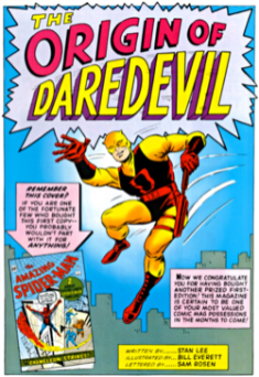 Original Daredevil making debut on Marvel Comics in 1964
