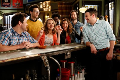 "UNDATEABLE -- ""Promo Shoot"" -- Pictured: (l-r) David Fynn as Brett, Rick Glassman as Burski, Bridgit Mendler as Candace, Ron Funches as Shelly, Bianca Kajlich as Leslie, Chris D'Elia as Danny, Brent Morin as Justin -- (Photo by: Greg Gayne/NBC)"