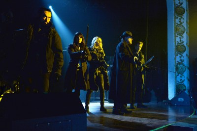 "THE STRAIN ""The Master"" -- Episode 13 (Airs Sunday; October 5; 10:00 pm e/p) -- Pictured: (L-R) Kevin Durand as Vasily Fet, Mia Maestro as Nora Martinez, Ruta Gedmintas as Dutch Velders, David Bradley as Abraham Setrakian, Corey Stoll as Ephraim Goodweather. CR: Michael Gibson/FX"