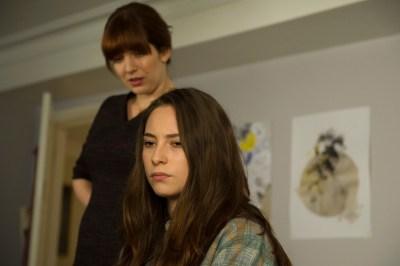 Katherine Parkinson as Laura Hawkins and Lucy Carless as Mattie Hawkins- Humans _ Season 1, Episode 1 - Photo Credit: Des Willie/Kudos/AMC/C4